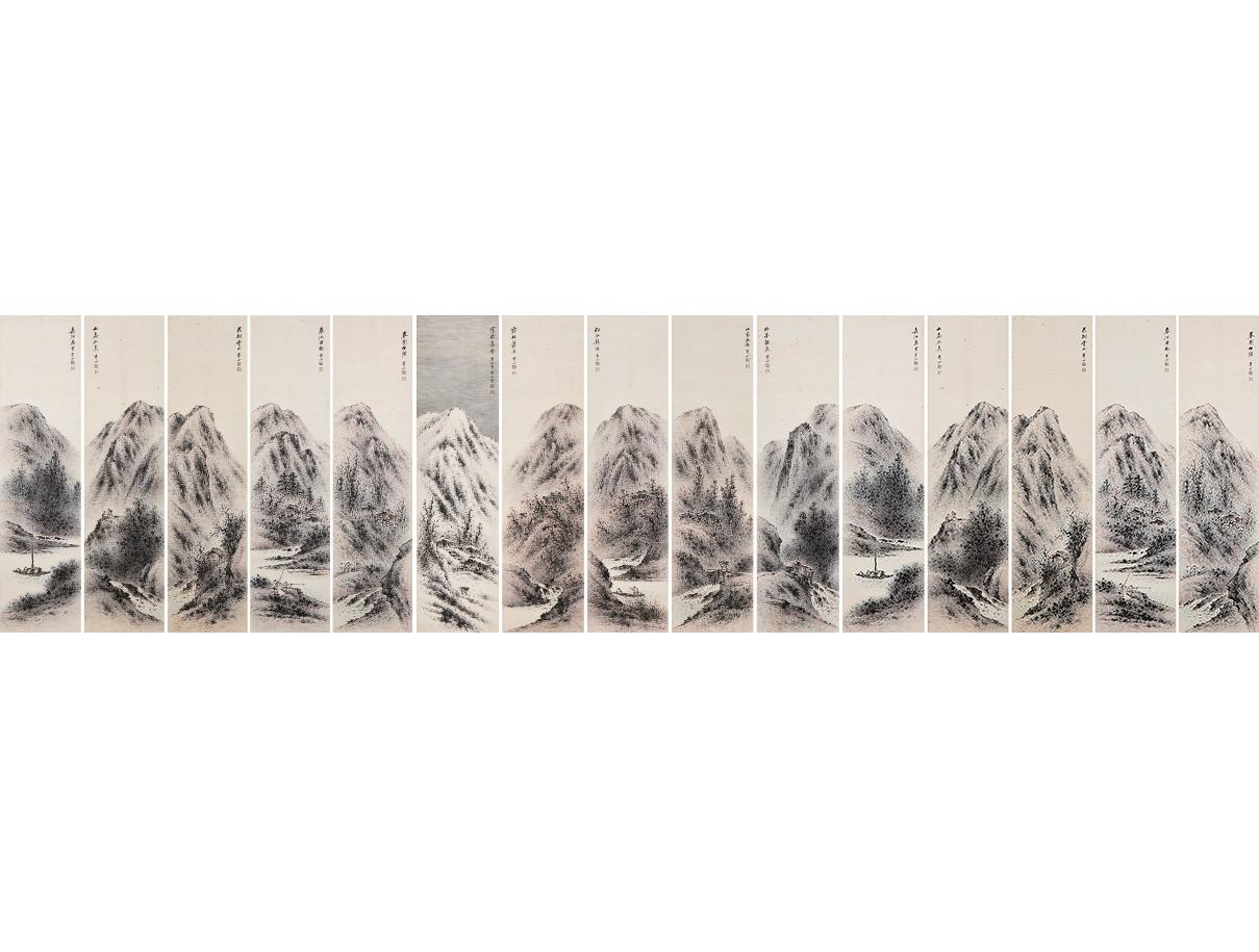 사계산수도  四季山水圖 청전 이상범 靑田 李象範 (1897-1972)  이상범은 한국의 산수를 특유의 필법으로 정감 있게 표현한 작가로 청전양식이라 불리는 새로운 화풍을 선보였다.   사계절을 표현한 이 작품은 1969년 청전이 병마를 얻은 이듬해에 그려졌음에도 힘차고 대가다운 면모의 필치가 돋보인다. 봄물이 한껏 올라 만물이 생동하는 춘경 3폭, 녹음 우거진 하경 3폭, 단풍으로 물든 추경 3폭, 흰 눈으로 뒤덮인 설경 1폭 등 총 10폭으로 구성되어 있다.
